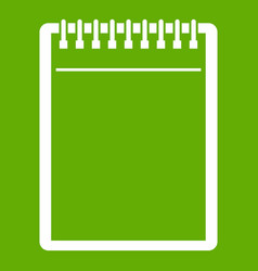 blank spiral notepad icon green vector image vector image