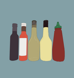 bottles of sauce sketch vector image