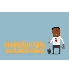 Businessman waiting a growth of investments vector image vector image