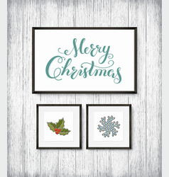 calligraphy lettering merry christmas with hand vector image vector image