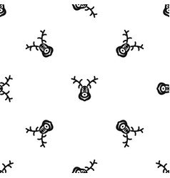 christmas deer pattern seamless black vector image vector image