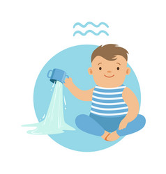 Cute little boy as aquarius astrological sign vector