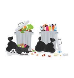 garbage can full of overflowing trash vector image