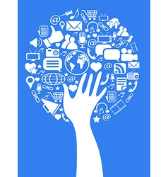 hand social media tree vector image