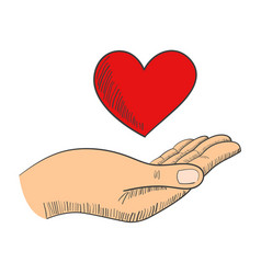 Hand with a heart shape symbol vector