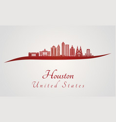 Houston v2 skyline in red vector