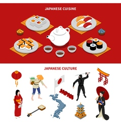 Japan Touristic Isometric Banners vector image