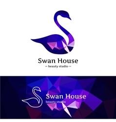Low poly swan logo beautiful diamond style vector
