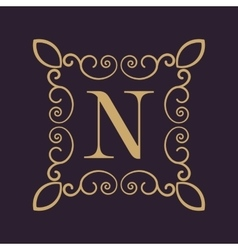 Monogram letter N Calligraphic ornament Gold vector image