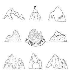 Mountains collection hand drawn mountain set vector