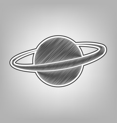 Planet in space sign pencil sketch vector