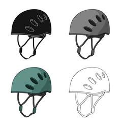 Plastic helmet climbermountaineering single icon vector