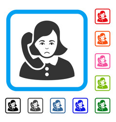 Receptionist framed pitiful icon vector