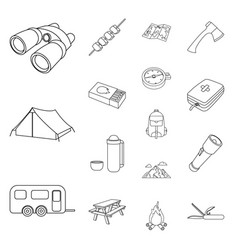 Rest in the camping outline icons in set vector