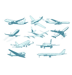 set aircraft air transport isolate on white vector image