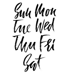 Set of days of a week handdrawn lettering vector