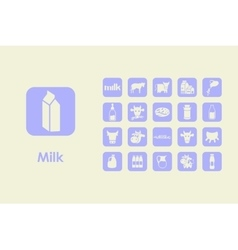 Set of milk simple icons vector image