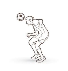 Soccer player bouncing a ball action outline graph vector