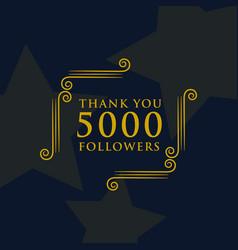 Social media 5000 followers thank you message vector