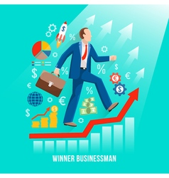 Successful businessman symbolic flat poster vector