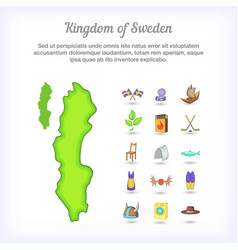 sweden concept kingdom cartoon style vector image