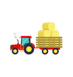 Tractor with hay on trailer icon vector