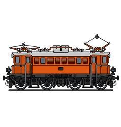 Vintage orange electric locomotive vector