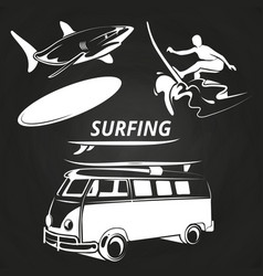 Vintage surfing elements on chalkboard design vector