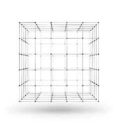 Wireframe polygonal geometric element cube with vector