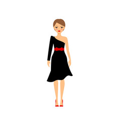 woman in black retro party dress vector image vector image