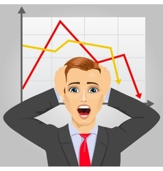Young businessman in economic crisis vector
