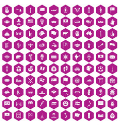 100 national flag icons hexagon violet vector