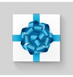Square gift box with shiny light blue azure ribbon vector