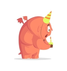 Giant Ft Pink Monster Blowing Candle On Cupcake vector image