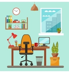 Colorful office desk closeup concept vector