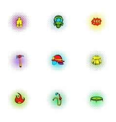 Burning icons set pop-art style vector