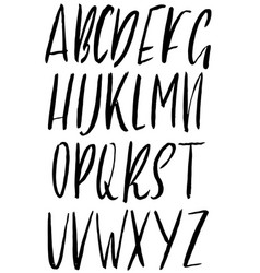 hand drawn ink simple font modern brush lettering vector image