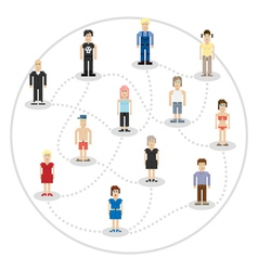 Pixel people social connection vector
