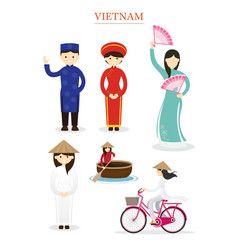 Vietnamese people in traditional clothing and vector