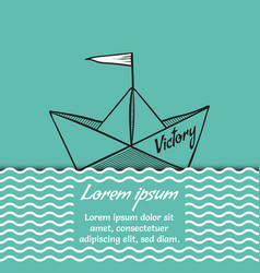 Origami paper ship victory on sea waves vector