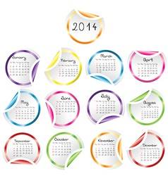 2014 Calendar with round glossy stickers vector image vector image