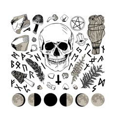 Set of ritual things black contour vector