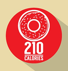 Single donut 210 calories symbol vector