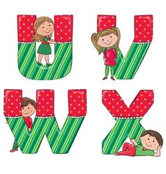 Alphabet kids VWUX vector image