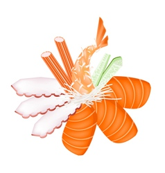 Seafood Sashimi with Chopsticks vector image