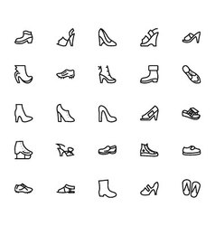 Shoes line icons 4 vector