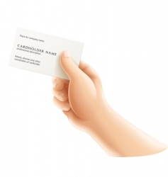 Human hand with business card vector