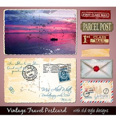 Travel Vintage Postcard Design with antique look vector image