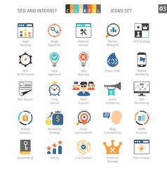 Seo colorful icon set 03 vector