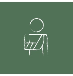 Injured man icon drawn in chalk vector